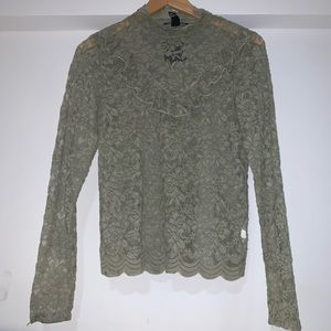 Forever 21 sage green lace long sleeve blouse